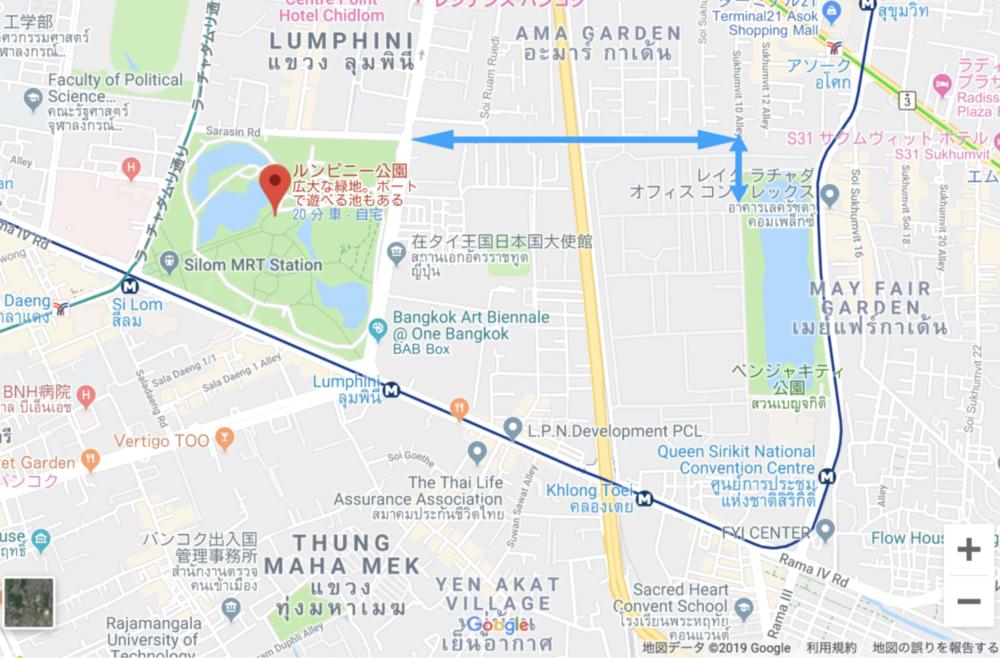 ルンピニ公園とベンジャキティ公園を繋ぐ秘密の通路